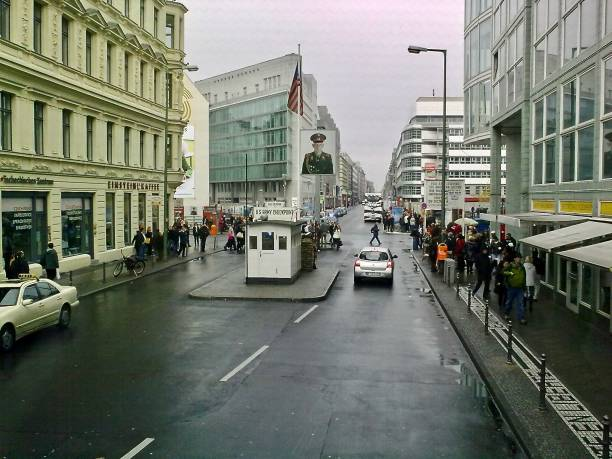 check point charlie -berlin - mcdermp stock photos and pictures