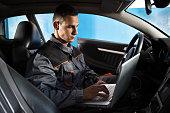 istock Check the car electronics 587505848