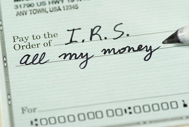 Check to Internal Revenue Service for All My Money stock photo
