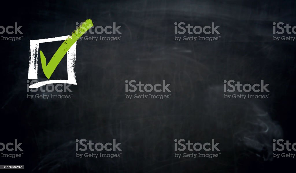 Checkbox chalkboard concept background stock photo