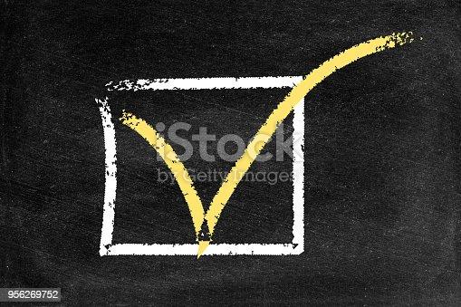istock Checkbox  on a blackboard 956269752