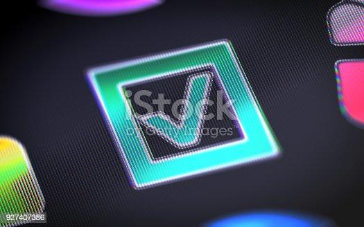 istock Checkbox on the screen. 927407386