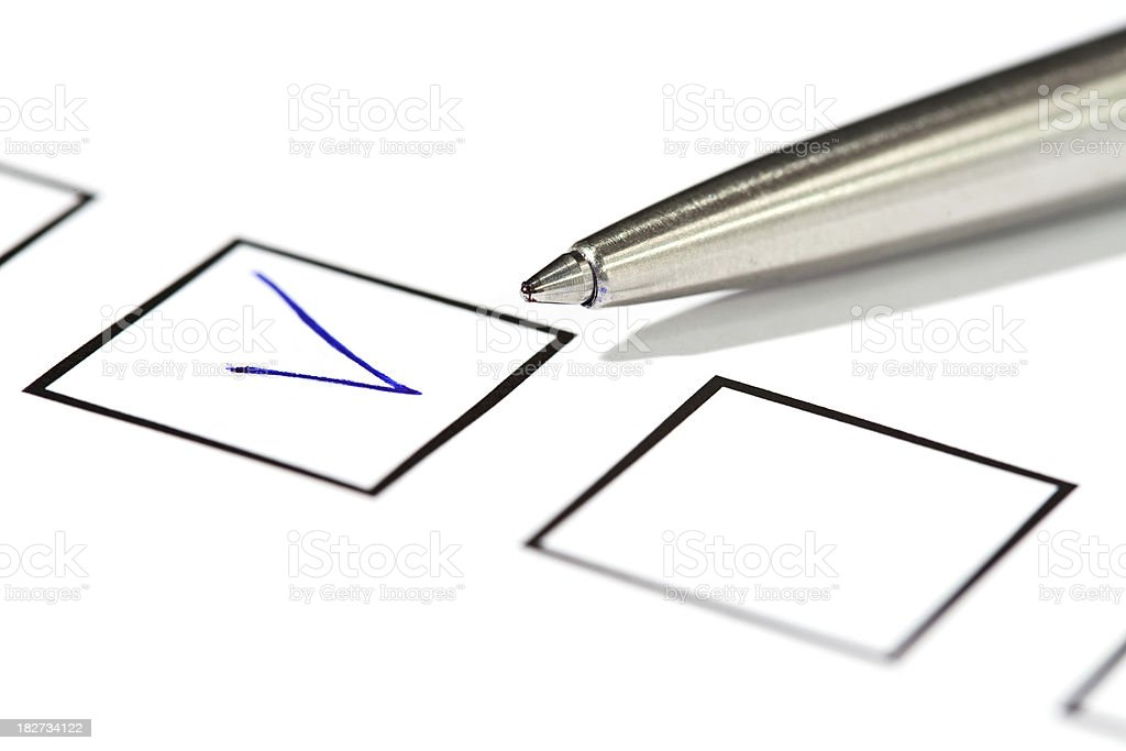 Checkbox with ball pen royalty-free stock photo