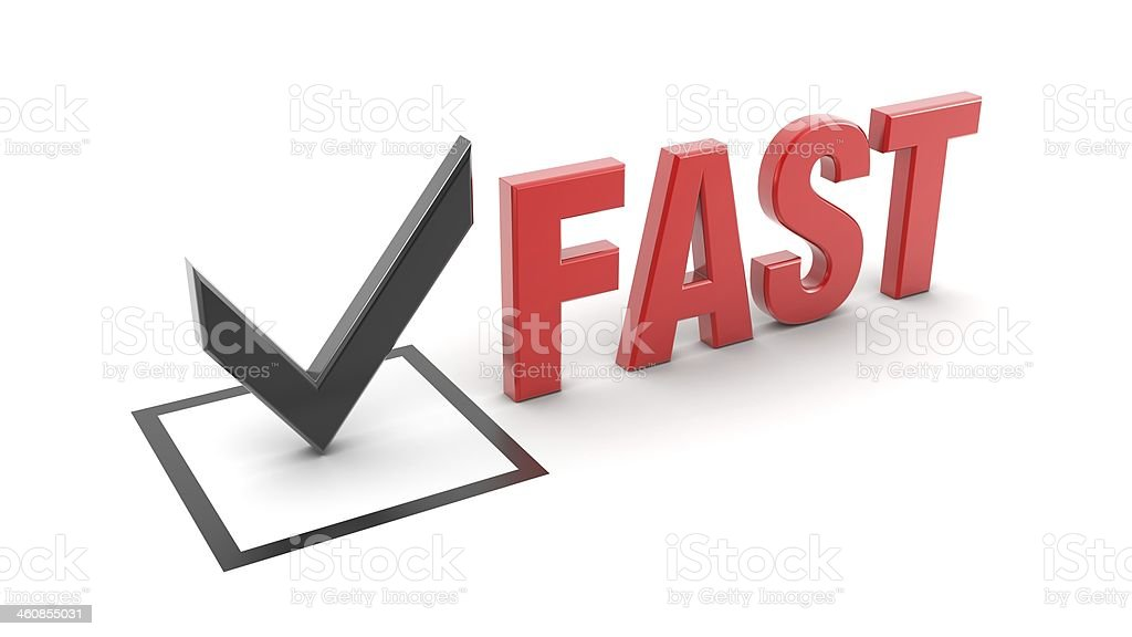 Checkbox With Black 3d Checkmark By The Word Fast In Red Stock Photo