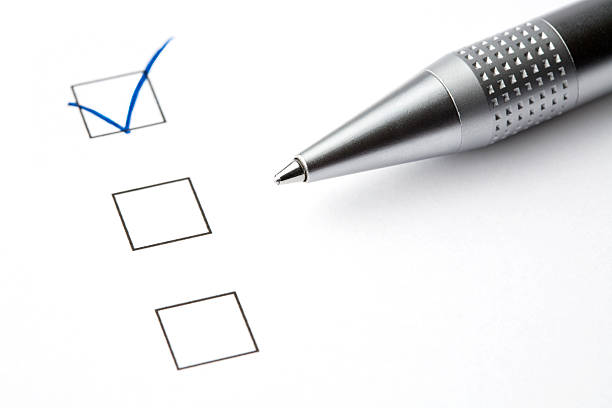 Checkboxes with Ball Pen stock photo