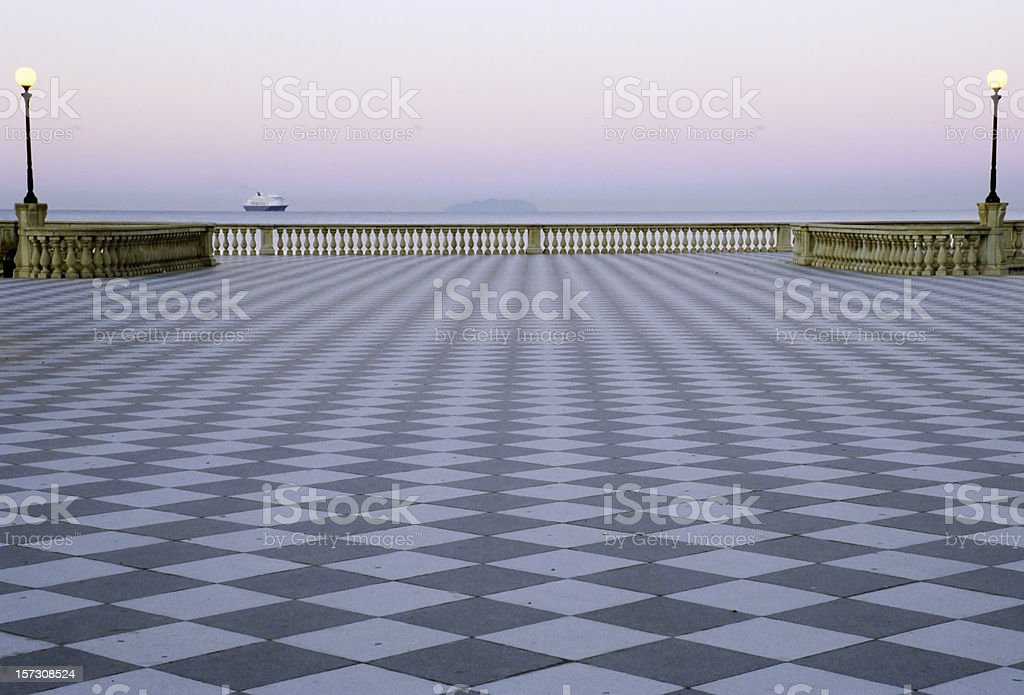 Checked Boardwalk by the Sea at Down royalty-free stock photo