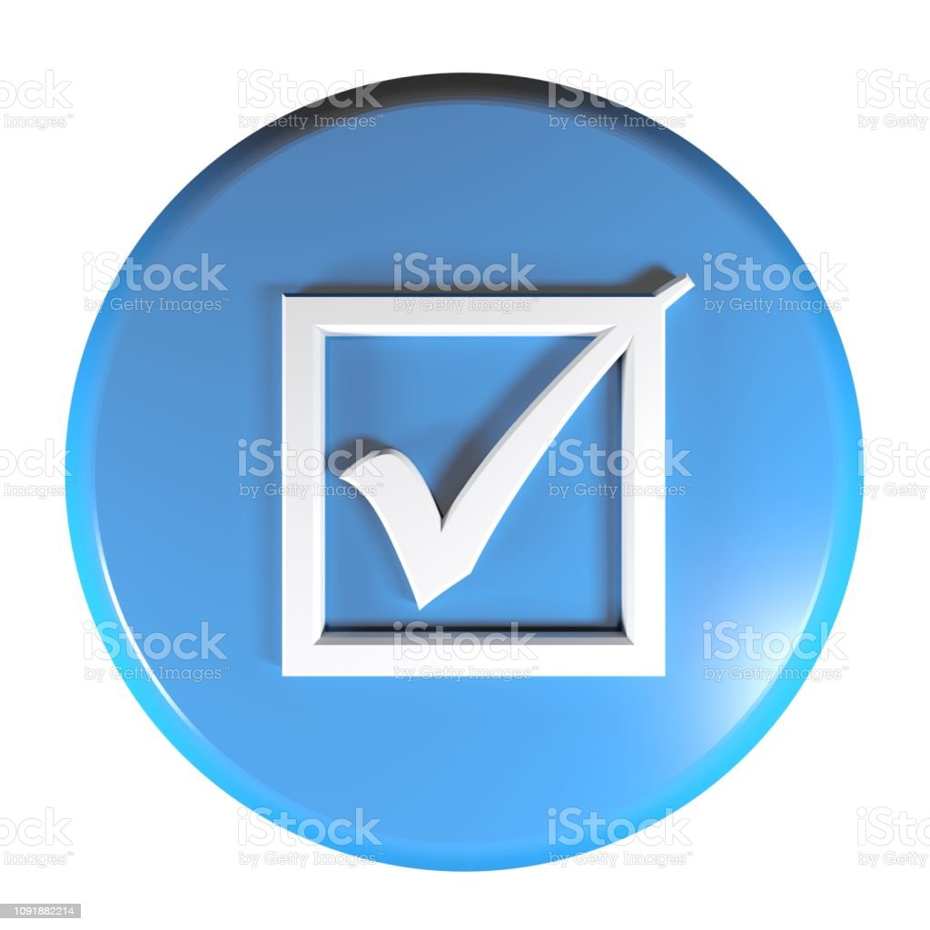 A blue circle push button with a checked box icon - 3D rendering...