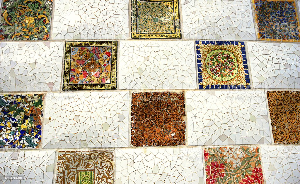 Checked mosaic in Park Guell, Barcelona royalty-free stock photo