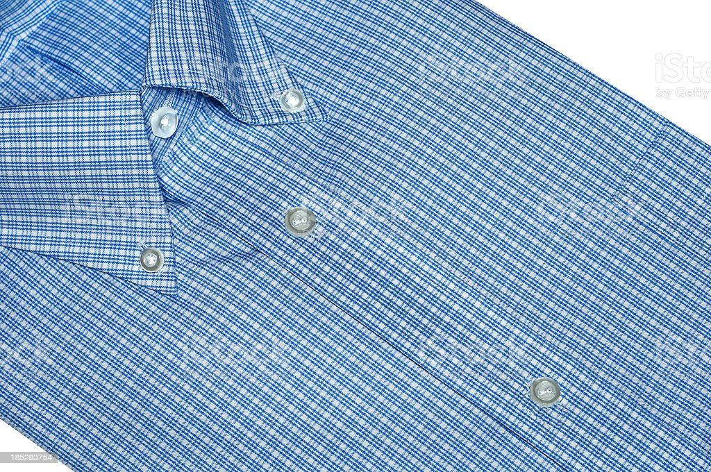Checked Pattern Blue Button Down Collar Dress Shirt stock photo