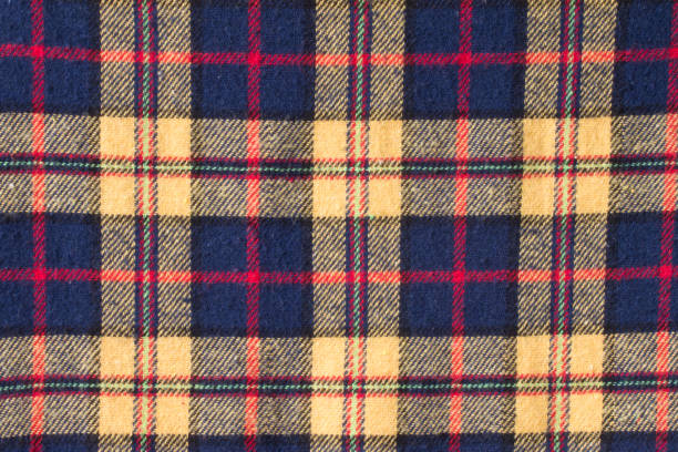 checked pattern fabric, gingham pattern in red, yellow and navy blue yarn.background checked pattern fabric, gingham pattern in red, yellow and navy blue yarn. plaid shirt stock pictures, royalty-free photos & images