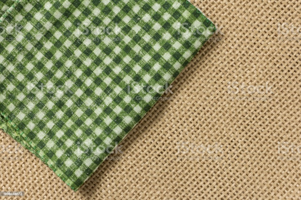 Checked Pattern over jute fabric. stock photo