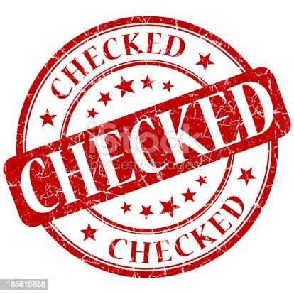 checked red round grunge stamp