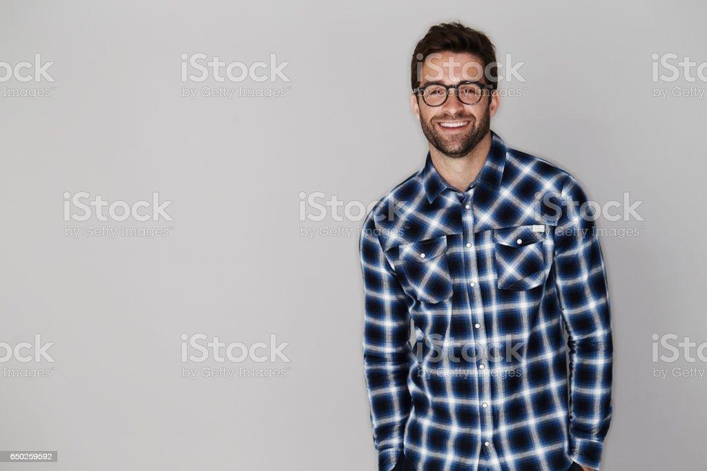 Checked shirt dude stock photo