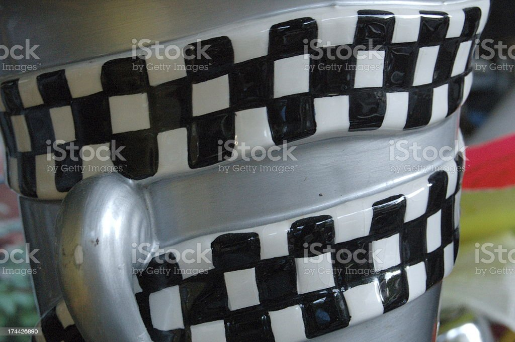 Checked Stripes on a Plastic Trophy Cup royalty-free stock photo