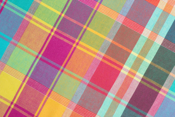 Checked textile vintage background. Checked fabric background.Gingham textile backdrop.Food design decoration. plaid stock pictures, royalty-free photos & images