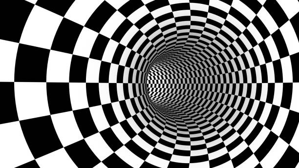 checker abstract speed motion in highway tunnel for technology pattern texture background ,fast moving toward the light, 3d illusion black and white illustration - illusion stock photos and pictures