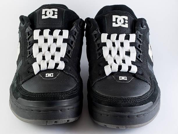 checkerboard shoelacing stock photo