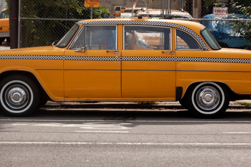 vintage checkercab parked in New York