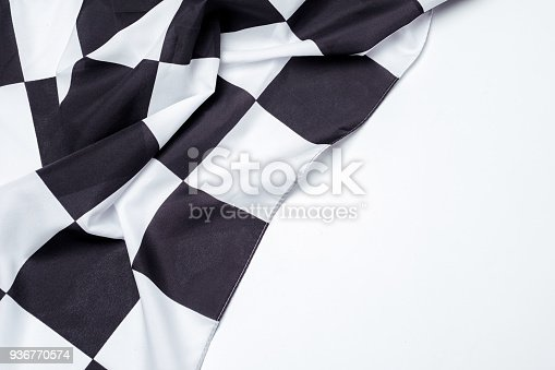 istock Checkered black and white flag. Copy space. 936770574