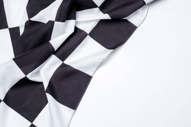 schwarze und weiße zielflagge. kopieren sie raum. - kariertes hintergrundsbild stock-fotos und bilder