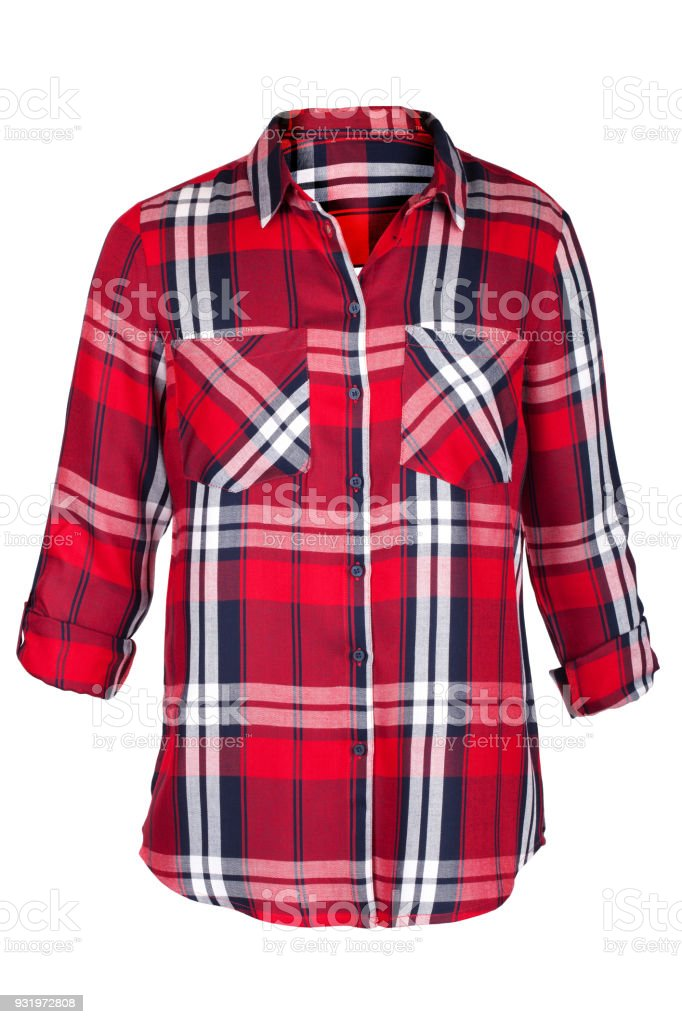 a64b002fb4e Checkered Blouse Isolated On White Stock Photo   More Pictures of ...