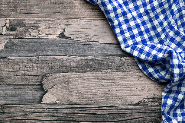 checkered fabric blue stock photo