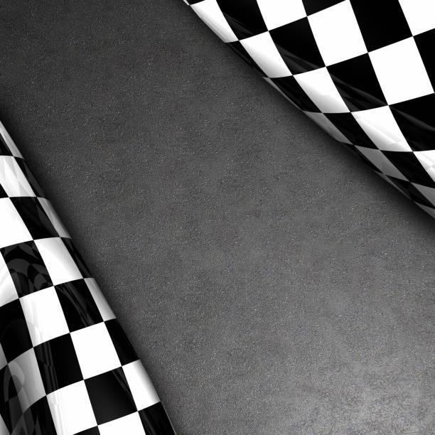Zielflagge und asphalt – Foto