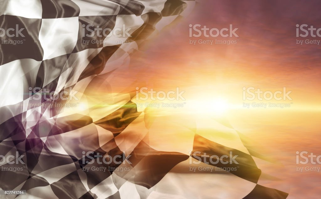 Checkered flag and sun stock photo