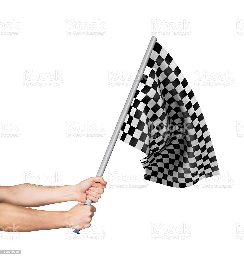Checkered flag in hand isolated on white background stock photo
