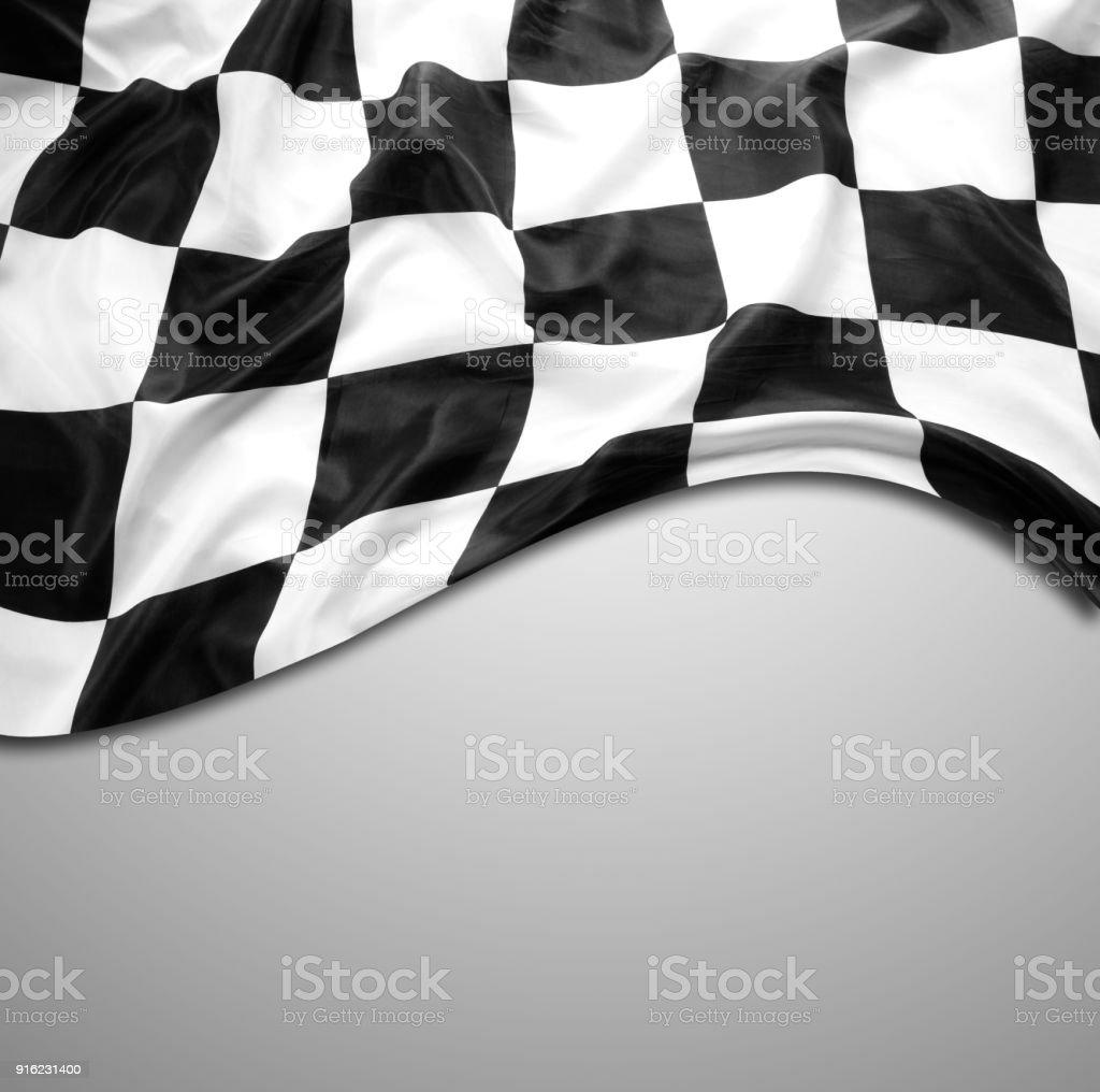 Checkered flag on grey stock photo