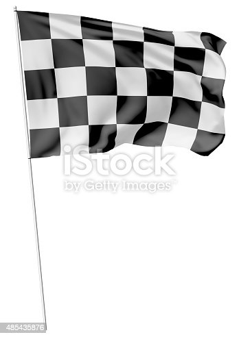 istock Checkered flag on long flagpole 485435876