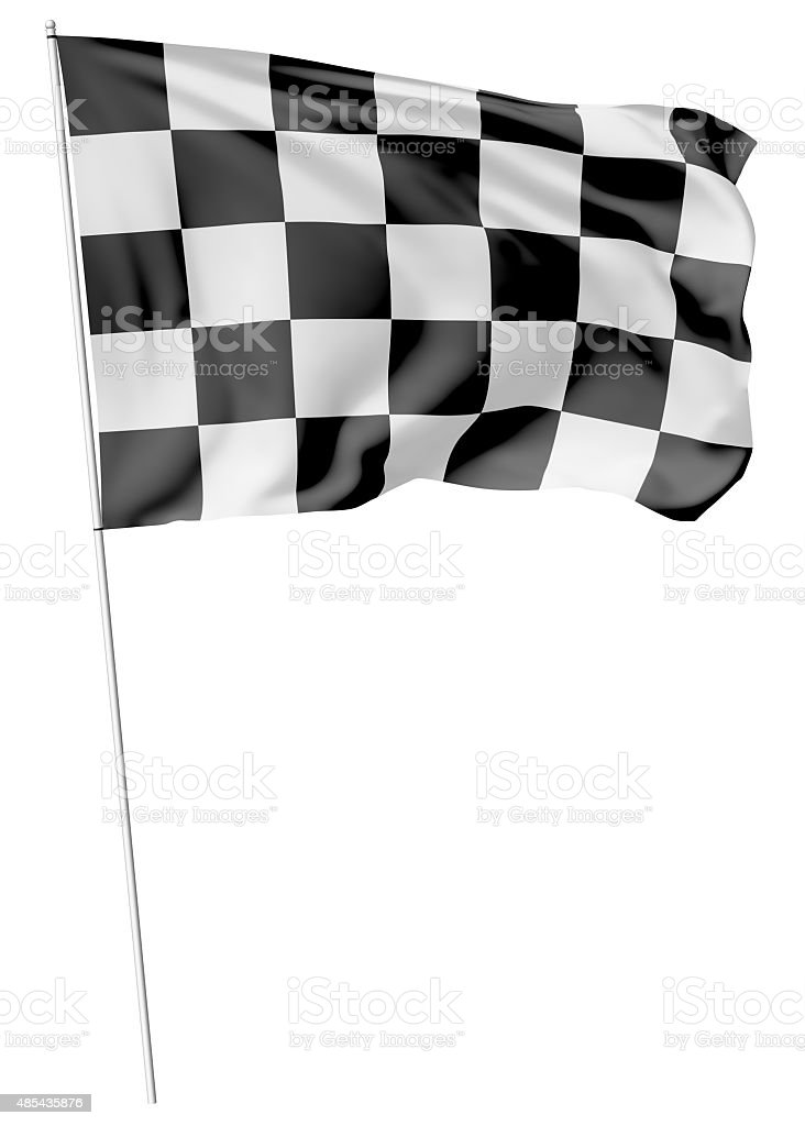 Checkered flag on long flagpole stock photo