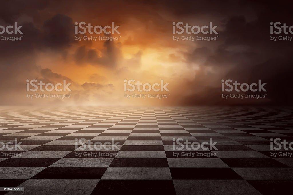 Checkered ground stock photo