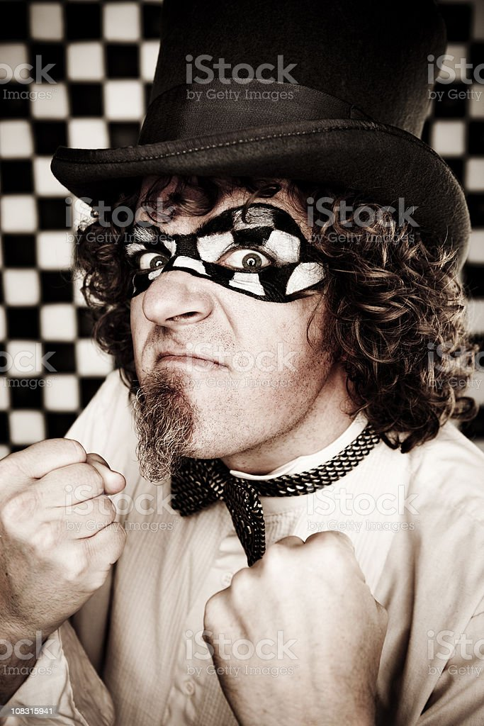 Checkered Man Series: Putting up a fight royalty-free stock photo