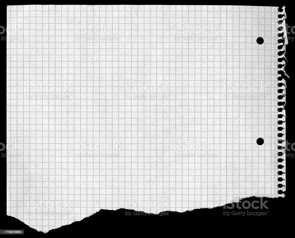 Checkered Piece of Paper stock photo