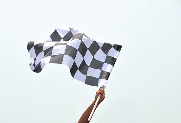 checkered racing flag - finishing stock photos and pictures