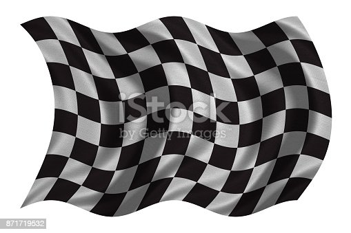 istock Checkered racing flag wavy on white fabric texture 871719532