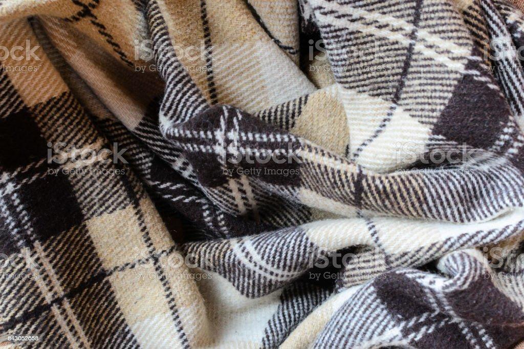 Checkered soft warm beige plaid stock photo