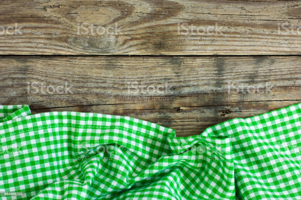 Checkered Tablecloth On The Table stock photo