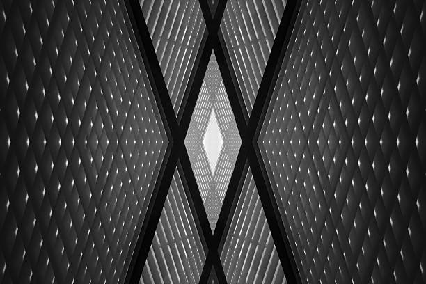 Checkered wall or ceiling. Digitally rendered industrial building fragment - Photo