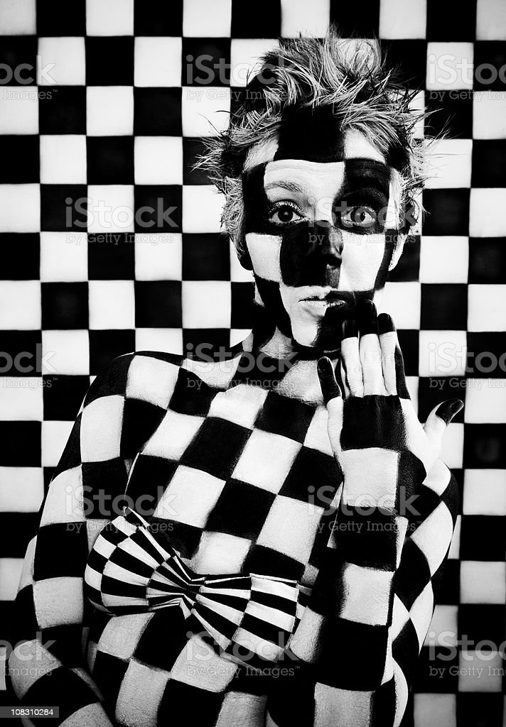 Checkered Woman stock photo
