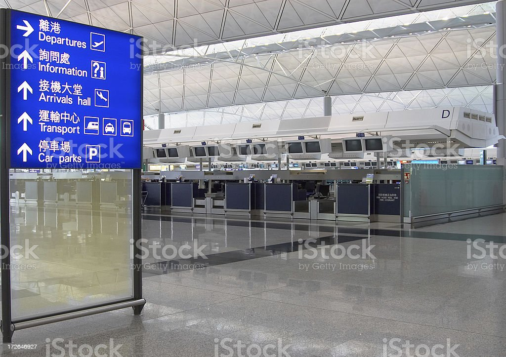 check-in at airport stock photo