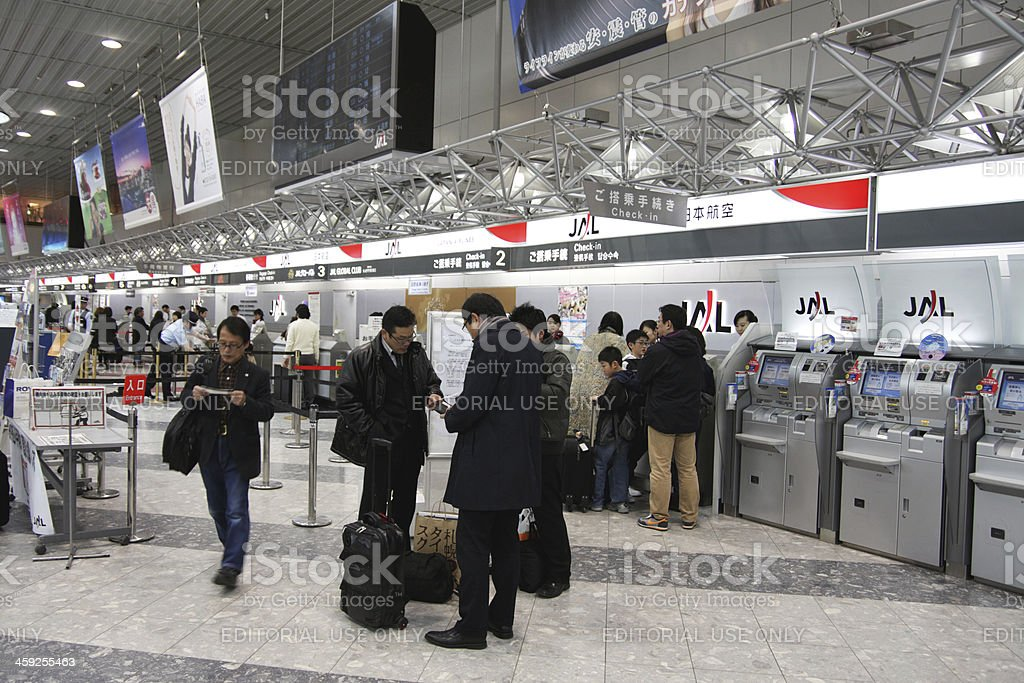 JAL check-in counter at New Chitose Airport in Sapporo royalty-free stock photo