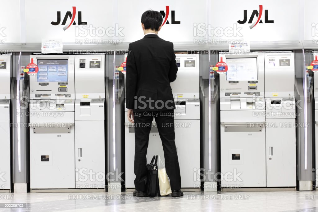 JAL check-in counter at New Chitose Airport in Sapporo stock photo