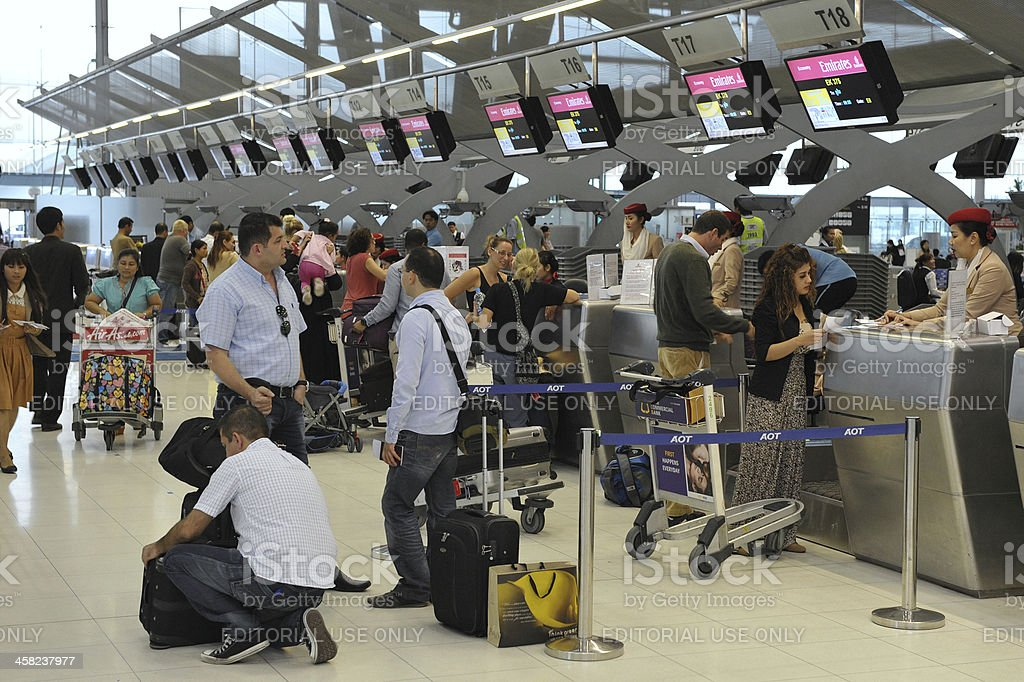 Check-In Counters at Bangkok Airport stock photo