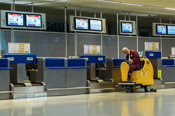 Check-in desks at Dubrovnik Airport main terminal stock photo