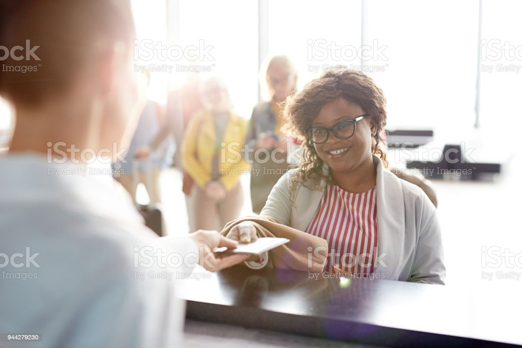 Check-in of documents stock photo