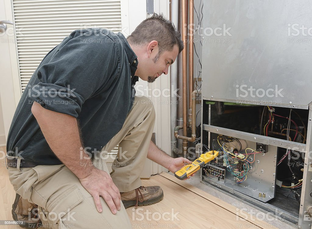 Checking Air Conditioner Amps stock photo