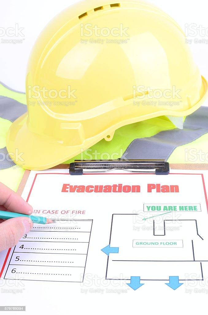 Checking an evacuation plan stock photo
