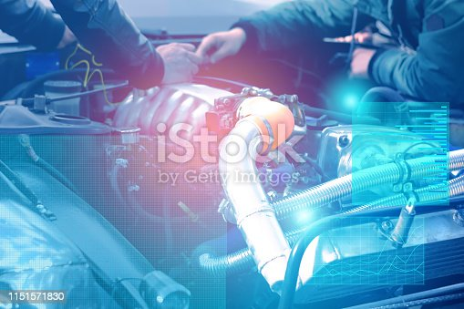 1150202730 istock photo checking and diagnostics of the engine and electrics of the car at the service center with the display of augmented reality and solving problems by artificial intelligence 1151571830